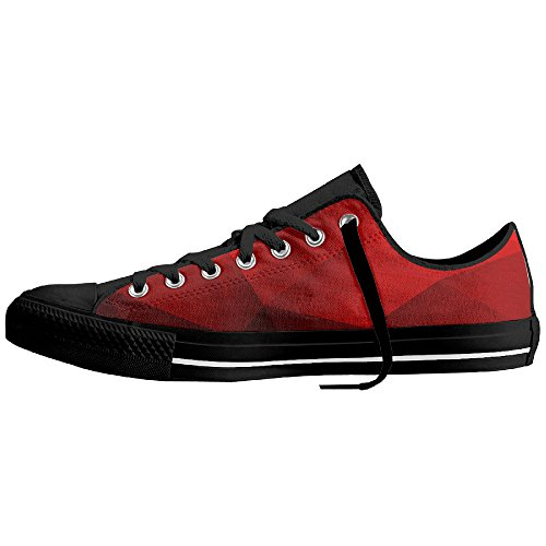 Yo Ou Red Geometric Fiber Classic Rubber Out-sole Lace-up Low-Cut Sneaker Plimsoll For Men Woman