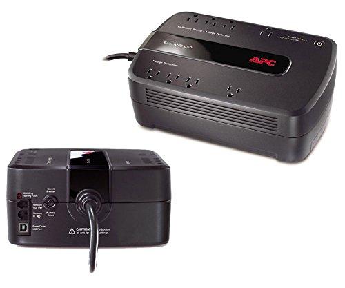 APC Back-UPS 650 VA Desktop UPS – Load Capacity: 650 VA/390 W, Full Load: 3 Min, Half Load: 12 Min, Input: NEMA 5-15P, Output: 8 x NEMA 5-15R (160016D)