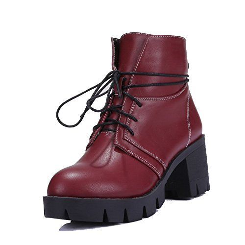 Women's Round Closed Toe Kitten-Heels Soft Material Low-top Solid Boots