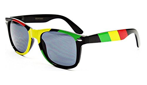 Rasta Stripes Square Sunglasses Jamaican Colors from Dweebzilla