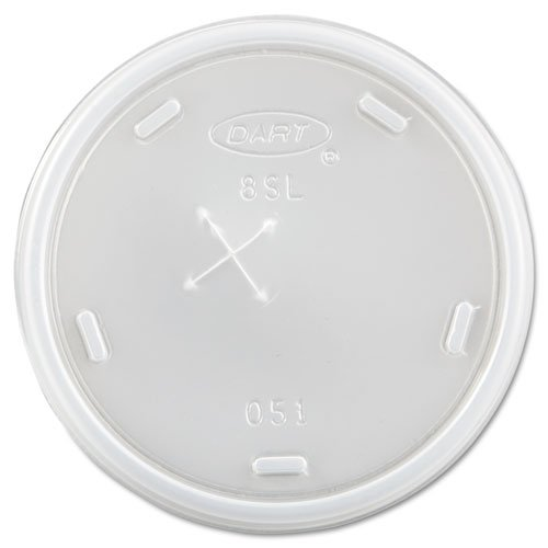 Dart 8SL Translucent Straw Slotted Lid - 8 Series (Case of 1000) (Straw Translucent Slotted)
