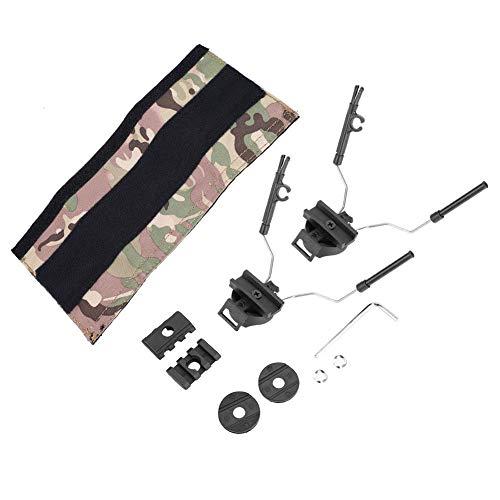 (Tbest Tactical Helmet Rail Adapter Headset Holder Set, ARC Rail Adaptor Tactical Helmet Headset Support Headset Helmet Adapter Combo Set for ACH ARC Fast OPS-Core Helmet Rail(Black))
