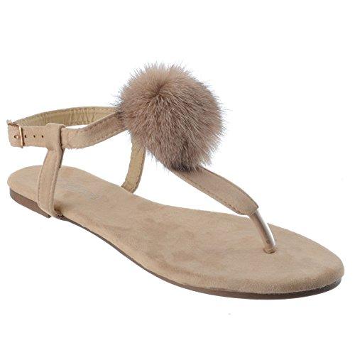 Miss Image UK Ladies Womens Summer Thong Pom Pom Espadrilles Toe Post T-Bar Ankle Strap Sandals Shoes Size Beige Faux Suede xXs1j