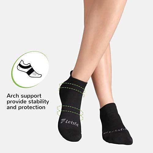 Letsfit Socks for Women & Men, Comfort No-Show Running Athletic Cushioned Socks 6 Pack