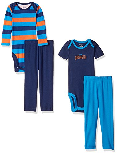 Gerber Boys' ' 4 Piece Bodysuit and Pant Set, Champ, 24 Months