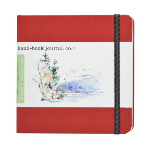 Global Art Materials 5-1/2-Inch by 5-1/2-Inch Drawing Book, The Square in Vermillion - Bound Book Hand Cloth