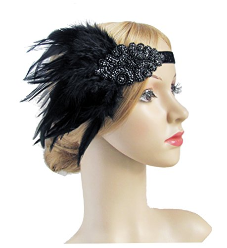 Black (Black And Gold Flapper Costumes Headband)