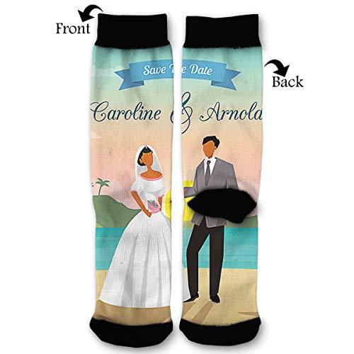 HAIDILUN Beach Wedding Save The Date Casual Anti Slip Crew Socks Novelty Ankle Socks for Women Men