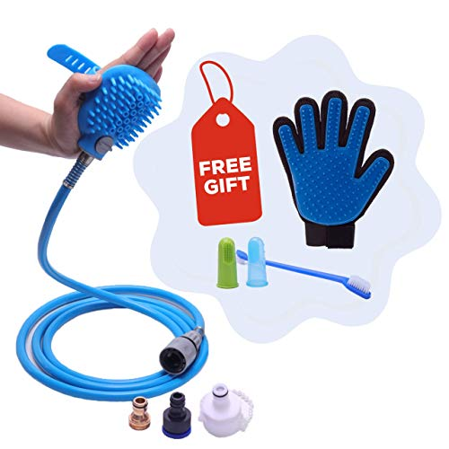 Hose Portable Shower (Threegether Pet Bathing Tool Kit Shower Sprayer & Scrubber in-One. Free Toothbrush & Deshedding Grooming Glove. Dog & Cat Bathe & Massage. Bathtub & Garden Adapter. Indoor & Outdoor Hose Attachment)