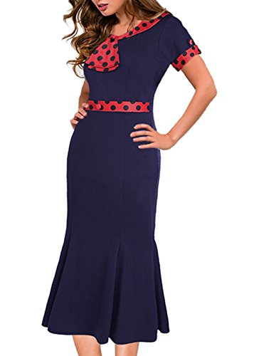 Vintage de los a?os 50 Polka Dot bowknot Fishtail vestido de c¨®ctel Navy