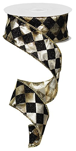 Diamond Glitter Check Wired Edge Ribbon, 10 Yards (Black, Gold, 1.5