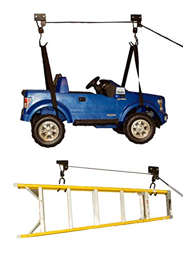 ABN Ceiling Mount Hoist - 2 Looped Straps, 2 Secure Claws and Install Hardware, Easy 100-Pound Garage Bike/Kayak Storage
