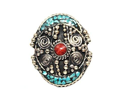(Coral Turquoise Ring, Tibetan Ring, Nepal Ring, Gypsy Ring, Boho Ring (10))
