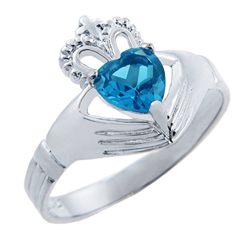 - Fine 925 Sterling Silver Solitaire December Birthstone Heart CZ Irish Claddagh Ring (Size 9.5)