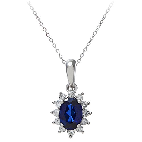 Naava - Collier Or Blanc avec chaîne de 46 cm - Pendentif Saphire 0,25 cts et Diamant