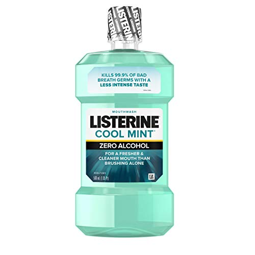 Listerine Zero Alcohol Mouthwash, Less Intense Alcohol-Free Oral Care Formula for Bad Breath, Cool Mint Flavor, 500 ml