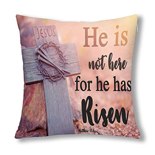 INTERESTPRINT Christian Bible Lettering Easter He Has Risen Decor Throw Pillow Case Cushion Covers, Decorative Zippered Pillowcase Protector, 18x18 Inch ()