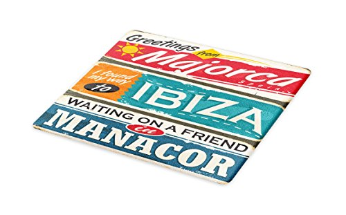 Lunarable Ibiza Cutting Board, Vacation Themed Majorca Ibiza and Manacor Exotic Places from Balear Region Spain, Decorative Tempered Glass Cutting and Serving Board, Small Size, Multicolor by Lunarable