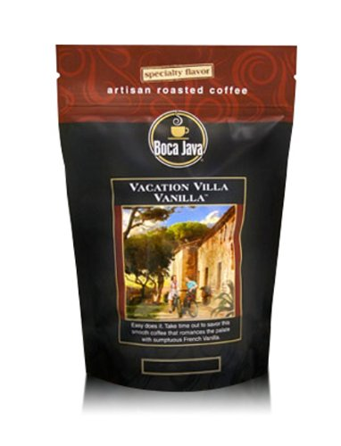 Decaf 8 Oz Gourmet Coffee - Decaf Vacation Villa Vanilla, French Vanilla Flavored Coffee, Ground, 8oz (2 Pack)