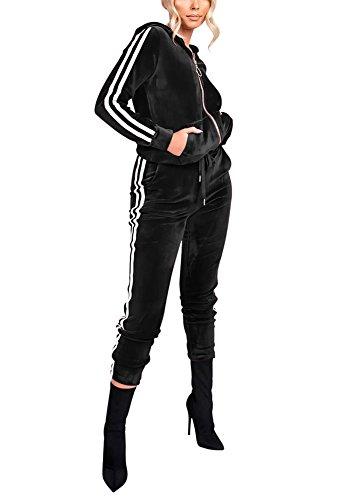 Vamvie Women's Hoodie Zip up Jogging Long Sleeve+Long Pants Velour Striped Tracksuit Set with Pocket Black XL