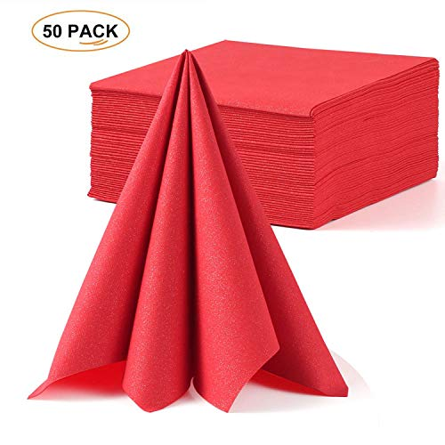 (LEKOCH Red Wedding Napkin Linen Feel Guest Towel | Air-laid Dinner Napkin | Disposable Premium Napkins for Wedding, Anniversary|16