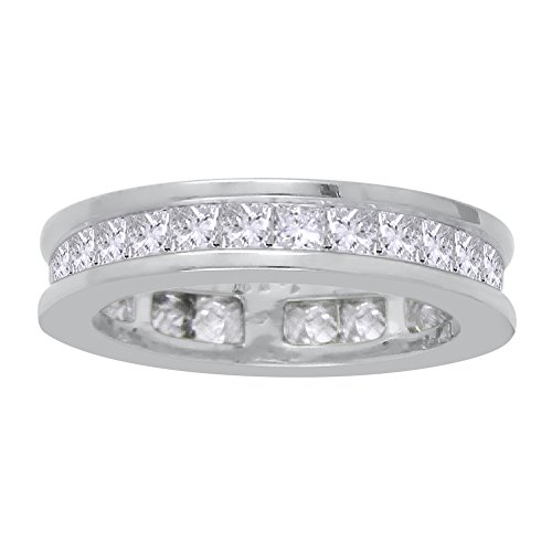 Princess Cut Diamond Eternity Wedding Band in Sterling Silver (2 1/10 cttw)(Color-GH, Clarity-VSSI) (Size-8.5) by KATARINA