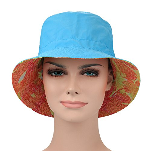 Ezyoutdoor Women's Summer UPF 50+ Quick-dry Reversible Double Side Colorful Pattern Sun Hat Reversible Bucket Hat for Hiking Camping Running Traveling - Buffet Creek