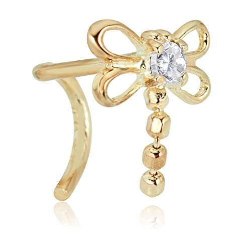 (AVORA 14K Yellow Gold Butterfly Simulated Diamond CZ Twisted Screw Nose Ring- 20 Gauge)