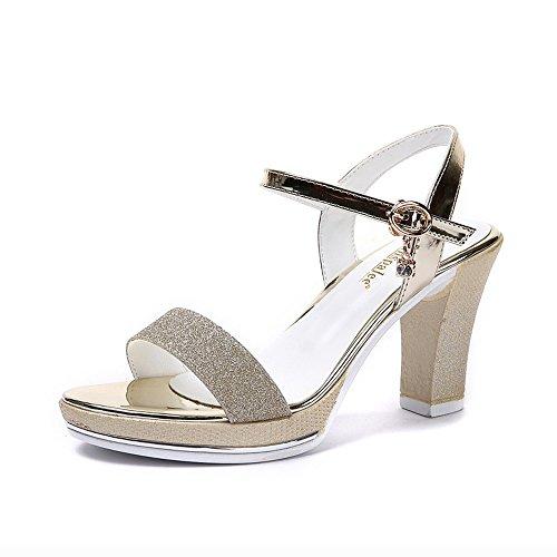 Ladies estivi heelsWomen scarpe sandali LI Flip Peep sandali toe BAJIAN scarpe Alta Flop basse di RwpvnT