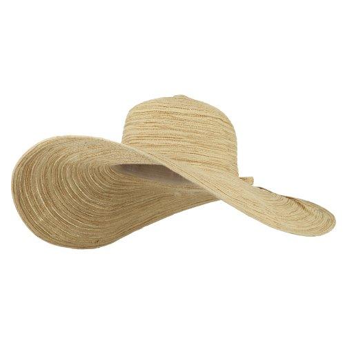 MG Ladies Metallic Toyo Braid Flat Wide Brim Sun Hat - Khaki - Toyo Hat Braid Wide