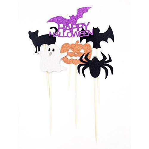 HORHIN 6PCS HAPPY HALLOWEEN Cake Decoration Set for Halloween Party Decorations,Pumpkins Black Cat Bat Spider Ghost Creative Cake Desert Cupcake Plug-in Card Topper -