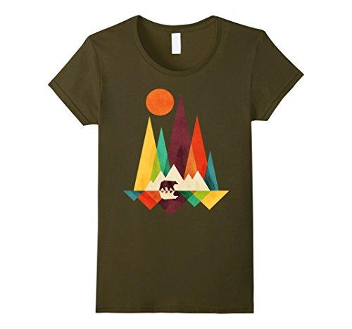 Womens Mountain Bear T Shirt Small Olive