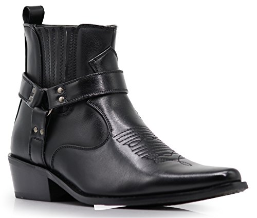 Image of Enzo Romeo WSTN01 Men's Western Boots Side Zipper Pointy Strap Fashion Boots (12 D(M) US, Black)