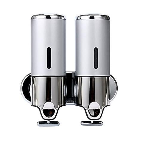 YaeKoo 500 ML Wall Mounted Bathroom Shower Soap Dispenser Liquid Soap Shampoo Bottles Silver (Bathroom Shower Soap Dispenser)