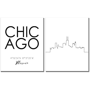 N&T Chicago Skyline Wall Décor Prints - Set of 2 (8x10) Art Photos - Typography Minimalist Poster