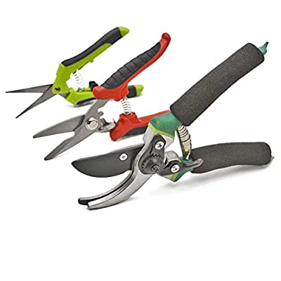 wooch Gardening Shears Garden Cutter Hand Pruner Clippers Stainless Steel Bypass Pruning Kit (Set of 3)
