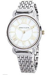 Anne Klein Women's White Dial Silver Tone Bracelet Watch AK/1877WTTT