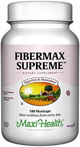 Maxi Health Fibermax Supreme - Psyllium Husk & Flax Bran - Constipation Help - 180 Capsules - Kosher