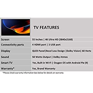 OnePlus 138.8 cm (55 inches) Q1 Series 4K Certified Android QLED TV 55Q1IN-1 (Black) (Without Stand)