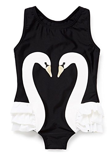Swan For Kids Costumes Black (StylesILove Kid Girl One Piece Swan Print Ruffle Swimsuit Beachwear Bathing Suit)