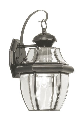 Autumn Brass Lantern - Livex Lighting 2151-04 Monterey 1 Light Outdoor Black Finish Solid Brass Wall Lantern with Clear Beveled Glass