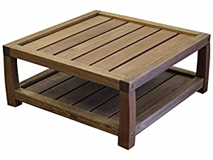 Timbo Vila Rica Hardwood Outdoor Patio Square Coffee Table, Table, Brown by Timbo