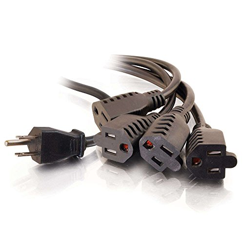 C2G/Cables to Go 29808 16 AWG 1-to-4 Power Cord Splitter (NEMA 5-15P to 4 NEMA 5-15R) TAA Compliant, Black (6 Feet, 1.82 Meters)