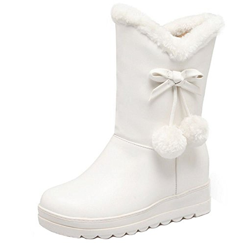 COOLCEPT White Lined Pull Boots On Women Warm YZYw1q