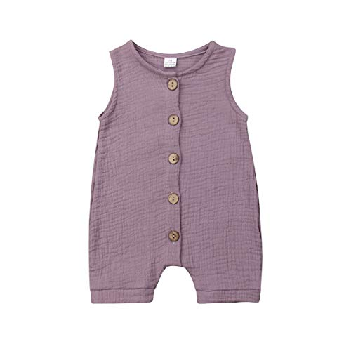 Meipitgy Infant Newborn Baby Boys Girls Romper Bodysuit Jumpsuit Outfits Overalls Clothes 0-24 M (12-18 Months, Light Purple)