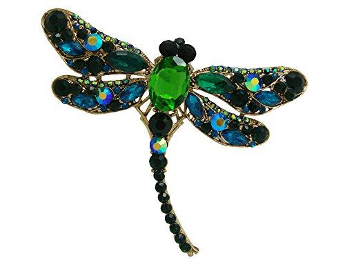 TTjewelry Elegant Dragonfly Bird Brooch Pin Austrian Crystal Rhinestone Animal Party Jewelry (Animal Pins Dragonfly Jewelry)