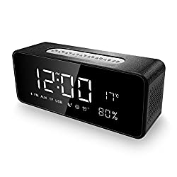 Alarm Clock Radio Bluetooth Speakers for iPhone, iPad/iPod/Android and Tablets, FM Radio Home Stereo, LED Display with Dimmer, Snooze Temperature Display, 12/24 Hours, USB Rechargeable Black