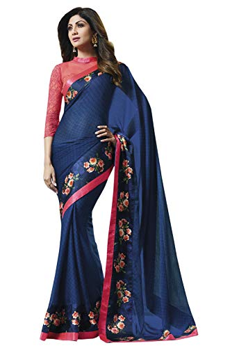 Print Saree - Odhni Indian Blue Texture Print and zari Border Work Georgette Party wear Saree