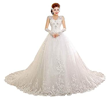 Beautiful White Wedding Occasion V Neck Dress Train Gown HS343T ...