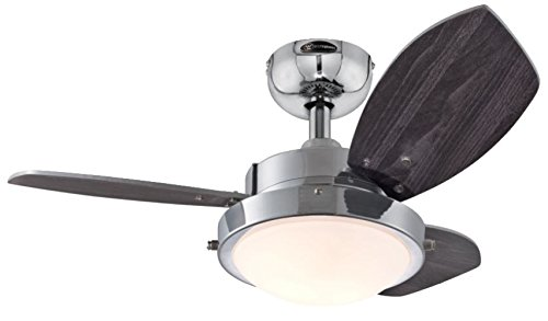 Westinghouse Lighting 7876300 Casual Wengue 2-Light Reversible 3-Blade Indoor Ceiling Fan with Opal Frosted Glass, 30